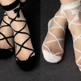 Stilim Transparan Desenli Bayan Soket Çorap