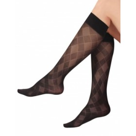 İtaliana Ekose Desenli Dizaltı Pantolon Çorabı